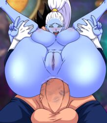 ahe_gao anal anal_sex angel_(dragon_ball) aqua_eyes areolae ass balls big_balls black_hair blue_eyes blue_skin breasts clitoris double_v dragon_ball dragon_ball_super duo eyelashes faceless_male female fucked_silly full_nelson furanh gesture gloves hairless_pussy high_ponytail highres huge_ass huge_cock interspecies kiss_mark large_breasts leg_grab lipstick_on_penis long_hair male nipples nude penis perspective plump_labia ponytail puffy_nipples pussy reverse_cowgirl_position rolling_eyes saiyan sex solo_focus spiky_hair straight tears tight_fit tongue tongue_out v vados vegeta white_hair