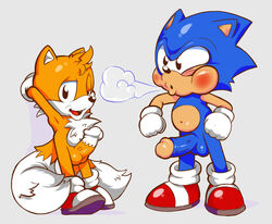 anthro balls blush breath canine chest_tuft clothing conjoined_eyes cub duo erection footwear fox fur gloves hedgehog looking_at_viewer male male/male mammal navel neokat open_mouth penis shoes simple_background sonic_(series) sonic_the_hedgehog standing tails tuft young