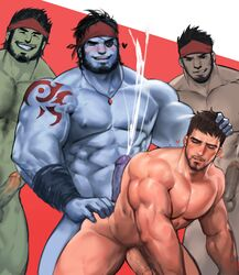 4boys anal ass bara cum erection eyepatch facial_hair grin group_sex happy_sex heart interspecies male_focus msucle multiple_boys muscle nude pecs penis scar size_difference smile smirk yaoi yy6242