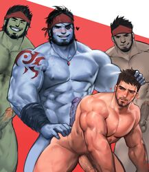 4boys after_sex anal ass bara cum erection eyepatch facial_hair grin group_sex happy_sex heart interspecies male_focus msucle multiple_boys muscle nude pecs penis scar size_difference smile smirk yaoi yy6242