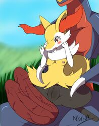 2016 big_penis black_fur blush braixen breasts canine dragon duo female fur garchomp grass huge_cock imminent_sex inner_ear_fluff interspecies male male/female male_penetrating mammal multi_penis nintendo niviox open_mouth orange_eyes orange_nose outside penis pokémon_(species) pokemon pussy red_eyes red_nose solo_focus toony video_games white_fur yellow_fur
