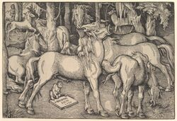 1534 absurd_res ancient_furry_art animal_genitalia animal_penis animal_pussy ass border cervine eating elk equine_penis equine_pussy erection female feral flared_penis flehmen forest grass greyscale group hans_baldung_grien hi_res hooves human imminent_sex lying male male/female mammal monkey monochrome nude open_mouth outside penis primate proper_art public_domain pussy renaissance signature standing traditional_media_(artwork) tree walking woodcut