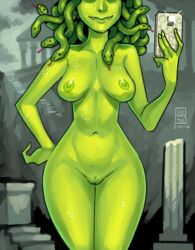 breasts cellphone curanto dated fangs female female gorgon green_skin medium_breasts medusa monster_girl navel nipples nude ruins self_shot smile snake snake_hair solo