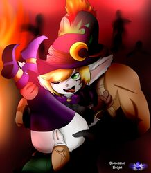 anal anal_insertion anal_sex animal_ears anthro bewitching_tristana big_penis blonde_hair dwarf furry green_eyes halloween league_of_legends legs_up marcobodt midget pantheon pussy size_difference slayer_pantheon smaller_female spellcaster_knight tristana witch yordle