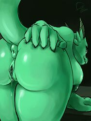absurd_res anthro anus ass bent_over big_breasts big_butt breasts female gregzhel hand_on_ass hi_res horn kobold kobold_princess nipples nude presenting presenting_anus presenting_hindquarters presenting_pussy princess pussy pussy_juice rear_view reptile royalty scalie smile solo towergirls