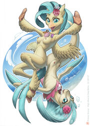 alternate_form anthro avian beak breasts female fin fish freckles gem hippogryph hooves jewelry looking_at_viewer loupgarou mammal marine multiple_versions my_little_pony my_little_pony:_the_movie necklace nipples nude open_mouth open_smile pearl_(gem) princess_skystar pussy seahorse seashell smile solo teats wings