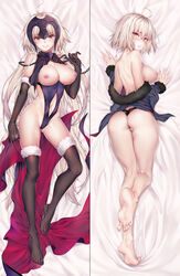 ahoge ass bare_shoulders barefoot bed_sheet black_legwear blush breasts chains dakimakura elbow_gloves fate/grand_order fate_(series) feet female fur-trimmed_legwear fur_trim gloves headpiece highres jacket jeanne_alter kneepits large_breasts lingerie long_hair looking_at_viewer looking_back lying navel navel_cutout nipples obiwan on_back on_stomach parted_lips ruler_(fate/apocrypha) short_hair smile soles solo thigh_gap thighhighs toes underwear white_hair yellow_eyes