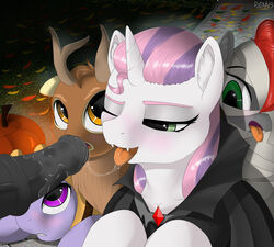2017 absurd_res ambiguous_gender animal_genitalia animal_penis blush costume disembodied_penis equine equine_penis fangs friendship_is_magic green_eyes group hair halloween hi_res holidays horn jack-o'-lantern male mammal multicolored_hair my_little_pony one_eye_closed open_mouth penis redvais sweetie_belle_(mlp) tongue tongue_out two_tone_hair unicorn