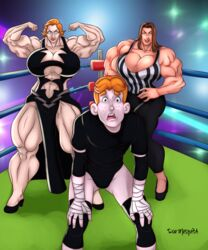 2girls archie_andrews archie_comics brown_hair freckles huge_breasts huge_muscles mary_andrews mother_and_son muscles muscular muscular_female red_hair referee roemesquita stephanie_mcmahon wrestler wrestling wrestling_outfit wrestling_ring wwe wwe_diva