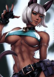 abs breasts cleavage dandon_fuga dark-skinned_female dark_skin female female_only looking_at_viewer muscles muscular_female nadia_fortune skullgirls solo underboob