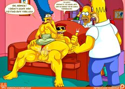 big_breasts big_hair big_penis blue_hair cheating cheating_wife cowgirl_position dress_lift duffman homer_simpson kogeikun looking_back marge_simpson muscular_male necklace on_couch red_panties shocked speech_bubble the_simpsons thong top_pull veiny_penis wet_pussy