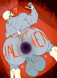 anus ass backsack balls bent_over big_balls big_butt body_writing bodypaint bone gaping_anus halloween holidays huge_ass huge_balls humanoid looking_back monstrous_humanoid mrcanvas muscular penis rear_view skeleton solo sweat thick_thighs undead