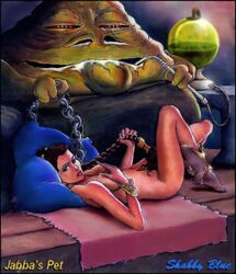 jabba_the_hutt princess_leia_organa return_of_the_jedi shabby_blue star_wars
