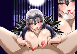 1boy ahoge bangs blush breasts capelet cum facial fate/grand_order fate_(series) fellatio female full_moon headpiece jeanne_alter large_breasts looking_at_viewer moon motion_blur nipples oral paizuri penis pov_crotch ruler_(fate/apocrypha) short_hair silver_hair spread_legs susisasimi tongue tongue_out upper_body v-shaped_eyebrows yellow_eyes