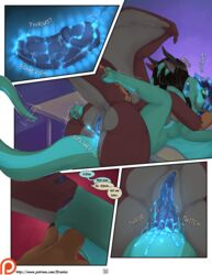 2017 anal anal_sex anthro anus ass blue_pussy breasts comic cum cum_in_pussy cum_inside deep_penetration digital_media_(artwork) draekos dragon duo elise_(draekos) erection female glowing glowing_cum glowing_eyes glowing_nipples glowing_pussy hair herm herm/female herm_penetrating horn intersex intersex/female intersex_penetrating nipples nude olivia_(draekos) open_mouth orgasm penetration penis pussy pussy_juice scalie sex tongue unusual_cum