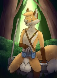 animal_genitalia anthro balls bedroom_eyes big_balls canine clothed clothing clothing_lift detailed_background digital_media_(artwork) flaccid forest fox fully_sheathed fur hair half-closed_eyes loincloth loincloth_lift looking_at_viewer male mammal penis pose seductive sheath sitting smile solo tiedernas topless tree