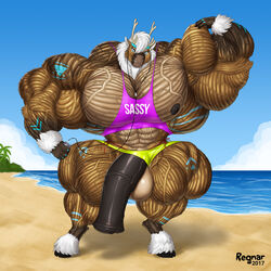 abs animal_genitalia animal_penis anthro biceps cambaru cervine earplugs equine_penis extreme flexing hooves hyper hyper_muscles invalid_tag looking_at_viewer male male_only mammal muscular nipples pecs penis regnar reindeer traps