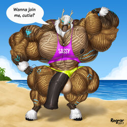 abs animal_genitalia animal_penis anthro biceps cambaru cervine earplugs equine_penis extreme flexing hooves hyper hyper_muscles looking_at_viewer male male_only mammal muscular nipples pecs penis regnar reindeer text traps