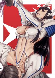 abs big_breasts black_hair blue_eyes breasts cunnilingus facesitting female femdom john_doe junketsu kamui kill_la_kill kiryuuin_satsuki male male/female navel nipples sex straight sword thighhighs
