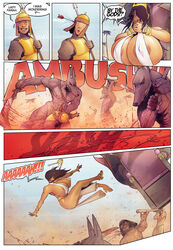 anubis areolae breasts comic dark-skinned_female dark_skin devil_hs farah female huge_breasts legend_of_queen_opala male nipples speech_bubble swegabe text