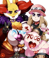 2girls bodypaint breasts delphox furry huge_breasts multiple_girls nintendo pasties pokemon pokemon_(creature) pokemon_(game) pokemon_xy serena_(pokemon) teddy_jack text