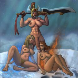 34-san abs barefoot big_breasts big_penis breasts crystal crystal_maiden dota_2 feet fellatio fire futa_on_female futanari hands_up helmet high_resolution large_breasts legion_commander licking_penis lina multiple_girls muscles nude penis pubic_hair ripped sitting snow standing sucking_testicles sword