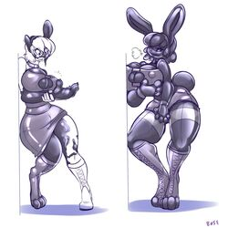 2017 alice_margatroid annoyed anthro big_breasts bose breast_expansion breasts clothing collar covering covering_crotch female hand_on_breast lagomorph living_inflatable mammal nipple_bulge rabbit simple_background skirt solo standing surprise tail_growth touhou transformation