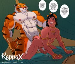 abs aladdin aladdin_(character) anal anal_sex anthro bed bedding biceps big_muscles cock_ring cum cum_while_penetrated dialogue digital_media_(artwork) disney duo ejaculation english_text erection feline from_behind_position fur hair hand_on_head human human_on_anthro humanoid_penis interspecies kappax larger_anthro larger_male male male/male male_penetrating mammal muscular muscular_male nipple_piercing nipples nude pecs penetration penis penis_size_difference piercing pink_nipples porn_dialogue rajah sex size_difference smaller_human smaller_male stripes submissive_male text tiger url vein yaoi