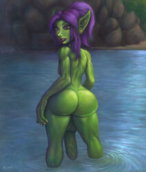 1boy 34-san ass balls bangs dangling_testicles erection femboy foreskin girly goblin green_skin huge_penis looking_at_viewer looking_back male male_only monster_boy painted_nails penis pointy_ears ponytail purple_hair solo testicles thick_thighs thighs trap uncut veiny_penis wide_hips