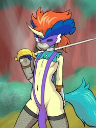 anthro anthrofied armor bikini bulge clothed clothing crossdressing equine forest front_view gauntlets girly gloves i-am-that-japanesse keldeo legwear male mammal mask melee_weapon navel nintendo outside penis_outline pokémon_(species) pokemon public saber sling_bikini solo stockings swimsuit sword thigh_highs tree unconvincing_armor video_games weapon