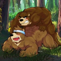 anal ass bear blush brothers censored forest goujuyu incest juuichi_mikazuki kenji_mikazuki male male/male mammal morenatsu musclegut muscular penis precum sibling smile sweat tree twins