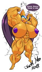 2018 abs anthro bat biceps big_breasts big_muscles breasts female flexing huge_breasts hyper hyper_muscles jack_hoo_(artist) mammal muscular muscular_female navel nipples nude pussy rouge_the_bat smile solo sonic_(series) speech_bubble wings