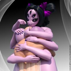 3d_(artwork) anthro arachnid arthropod between_breasts breast_smother breasts digital_media_(artwork) female hug human human_on_anthro idsaybucketsofart interspecies male male/female mammal muffet smothering spider undertale video_games
