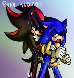 2009 aoi_no_harinezumi balls blue_fur blush clothing cum gloves green_eyes hedgehog penis red_eyes sonic_(series) sonic_the_hedgehog sweat tears