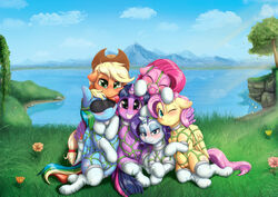 2017 absurd_res alcor90 alicorn applejack_(mlp) blindfold blonde_hair blue_eyes blush closed_eyes clothing cock_gag cowboy_hat cutie_mark detailed_background earth_pony equine feathered_wings feathers female flower fluttershy_(mlp) friendship_is_magic gag grass green_eyes grin group hair hat hi_res horn horse legwear looking_at_viewer mammal mountain multicolored_hair my_little_pony one_eye_closed outside pegasus pink_hair pinkie_pie_(mlp) plant pony presenting_teats purple_eyes rainbow_dash_(mlp) rainbow_hair rarity_(mlp) sex_toy smile tears teats tree twilight_sparkle_(mlp) unicorn wing_hug wings