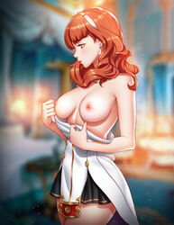 backlighting bare_shoulders bedroom blurry blurry_background blush breasts celica_(fire_emblem) closed_mouth cowboy_shot detached_collar dress dress_pull earrings eyebrows_visible_through_hair female fire_emblem fire_emblem_echoes:_mou_hitori_no_eiyuuou hairband high_resolution in_profile indoors jewelry large_filesize light_particles long_hair looking_away medium_breasts nipples no_bra off_shoulder paid_reward patreon_reward pinkladymage pulled_by_self red_eyes red_hair short_dress solo standing undressing very_high_resolution white_dress white_hair_ornament white_hairband
