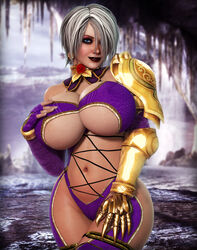 3d armor big_breasts blue_eyes eyeshadow hair_over_one_eye hand_on_breast hand_on_thigh isabella_valentine leotard lipstick namco rasmus-the-owl soul_calibur white_hair