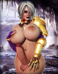 alternate_version_available armor big_breasts big_penis blue_eyes eyeshadow futanari hair_over_one_eye hand_on_breast hand_on_thigh isabella_valentine lipstick namco nude rasmus-the-owl soul_calibur white_hair