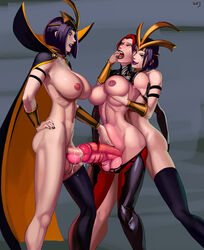 aka6 areolae balls big_breasts breasts cum cum_in_penis cum_inside dickgirl docking elise erection from_behind futa_on_futa futa_only futanari huge_cock large_breasts league_of_legends leblanc nipples penis sex stomach_bulge testicles urethral urethral_insertion urethral_penetration