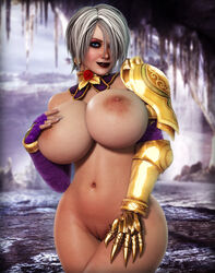 3d alternate_version_available armor big_breasts blue_eyes eyeshadow hair_over_one_eye hand_on_breast hand_on_thigh isabella_valentine lipstick namco nipples pussy rasmus-the-owl soul_calibur white_hair