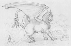 2017 3_toes ambiguous_gender anal_vore anthro badboy13 claws clothed clothing dragon equine feral forest fur furred_dragon group horn horse loincloth male mammal mane monochrome nude open_mouth raised_tail rime side_view simple_background size_difference soft_vore teeth toes topless traditional_media_(artwork) traditional_sketch tree vore wings