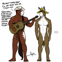 ! 2015 5_toes anthro balls barefoot beard bgn biped brown_balls brown_eyes brown_fur brown_nipples brown_penis brown_tail casual_nudity closed_eyes countershade_torso countershading cowboy_hat dialogue digital_media_(artwork) donkey duo english_text equine facial_hair feet flaccid foreskin front_view fur guitar hat haw holding_musical_instrument holding_object horse humanoid_feet long_foreskin male mammal multicolored_fur musical_instrument nipples nude penis plantigrade playing_guitar playing_music ryman signature simple_background snout standing text toes two_tone_fur uncut white_background white_countershading white_fur white_penis