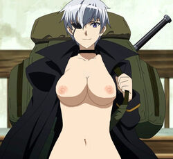 1girl akame_ga_kill! bag breasts choker collarbone edit eye_patch female female_only large_breasts looking_at_viewer mechanical_arm najenda nekomate14 nekomate14_edited purple_eyes short_hair silver_hair smile solo weapon