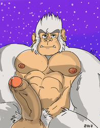 abs aji_arts balls biceps bigfoot blue_eyes male male/male muscular nipples pecs penis precum snow winter yeti