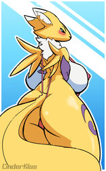 2017 anthro ass big_breasts black_nose blue_eyes blush breasts digimon digital_media_(artwork) female fur hair hi_res looking_at_viewer renamon sajik simple_background solo spreading text thick_thighs two_tones_fur video_games white_fur yellow_fur