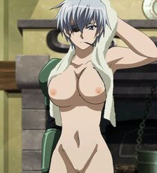 akame_ga_kill! breasts cigarette collarbone edit eyepatch female female_only large_breasts looking_at_viewer mechanical_arm najenda nekomate14 nipples nude purple_hair pussy short_hair silver_hair solo towel vagina