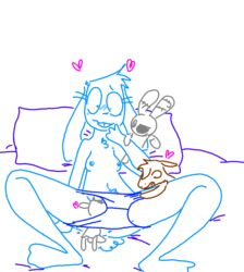 anthro anus bed blue_fur blush bonnibel_(roommates) breasts buckteeth caprine chest_tuft clothed clothing colt_(weaver) crossover ears_down equine female five_nights_at_freddy's five_nights_at_freddy's_2 fur goat group group_sex heart horse implied_cunnilingus lagomorph lilly_goat living_plush looking_pleasured male male/female mammal micro mr._bun-bun nipples on_bed panties panty_pull penis pillow pubes rabbit roommates:motha rule_63 sex size_difference small_breasts teeth the_weaver topless toy_bonnie_(fnaf) toybox_pals tuft underwear video_games