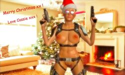 3d big_breasts blonde_hair breasts cassie_cage christmas christmas_decorations christmas_lights christmas_ornaments christmas_present christmas_tree female female_only fireplace games gear glasses gun hairy_pussy hat holster human human_only legs living_room mortal_kombat mortal_kombat_x naked nipples nude nude_female posing pubic_hair pussy pussy_lips render santa_hat solo solo_female text video_games weapon xnalara xps