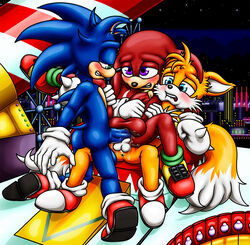 anal anal_sex anus balls blonde_hair blue_eyes blue_fur blush canine clothing double_anal double_penetration echidna footwear fox fur green_eyes hair happyanthro hedgehog knuckles_the_echidna mammal monotreme penetration penis precum purple_eyes red_fur shoes sonic_(series) sonic_the_hedgehog tails tan_fur video_games white_fur yellow_fur