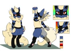 2017 alternate_color animal_genitalia anthro arcanine arcario balls blue_fur canine claws digital_media_(artwork) fakémon fan_character fluffy fluffy_tail fur hi_res hybrid looking_at_viewer lucario male mammal model_sheet nintendo pokémon_(species) pokemon raveneevee red_eyes sheath simple_background smile solo standing video_games